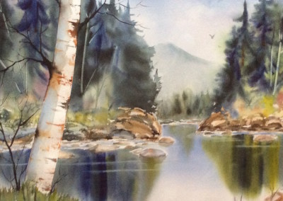 """Art by Brenda Bolton. """"Forest Green"""" Inspired by the area around Manhood Lake"""