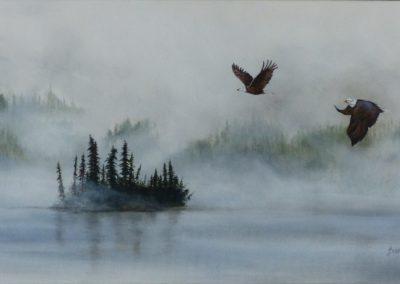 Misty Morning on Lac la Hache, B.C. Acryllic on 15`x 30`canvas  framed $375  By Bobbie Crane